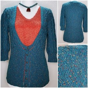 Kimchi Blue Teal 3/4 sleeve scoop neck sweater S